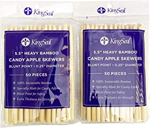 KingSeal Natural Bamboo Wood Candy Apple Skewers, Sticks, 5.5 Inch x 6.5mm Diameter, Blunt Point for Safety, Retail Pack - 2 Packs of 50 (100 Count)