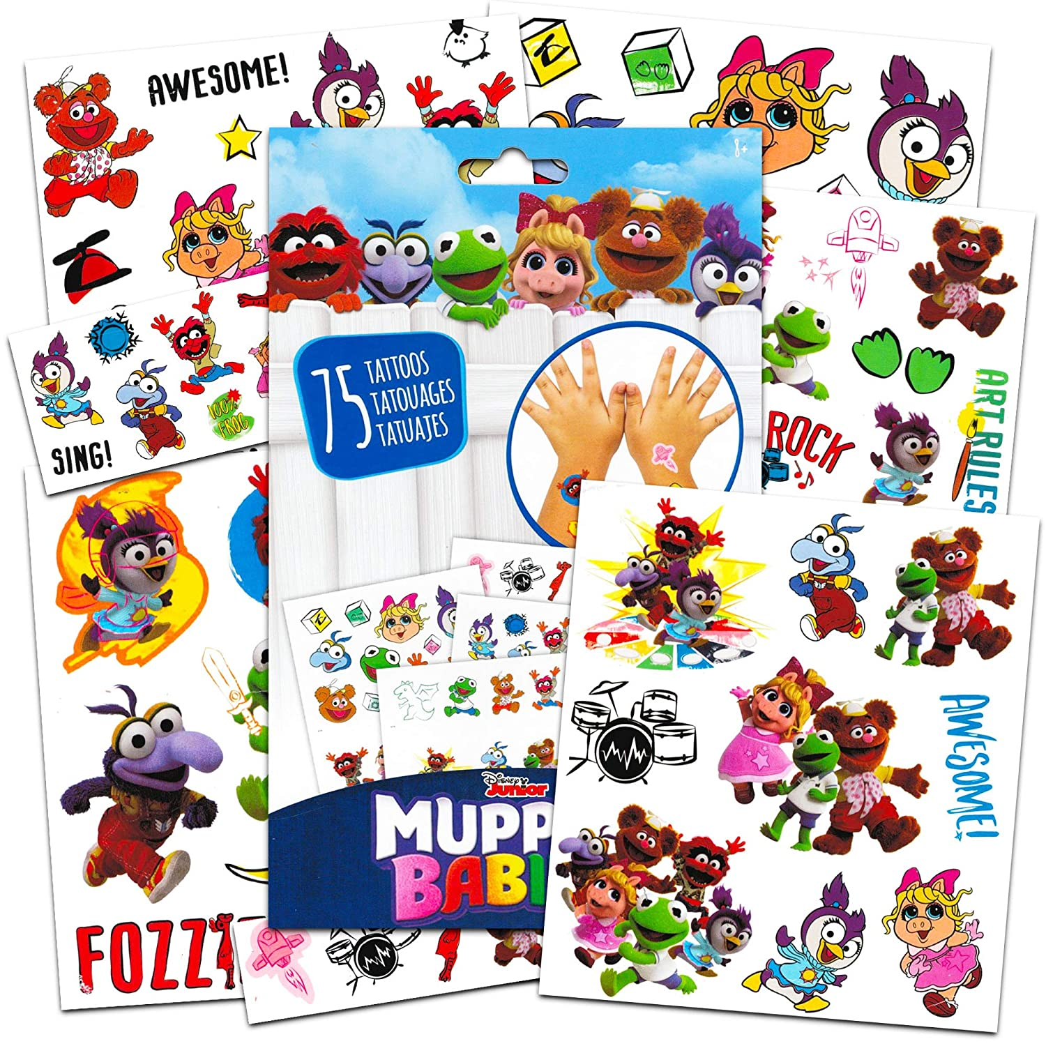 Fozzie Muppet Babies Toys Disney Muppet Babies Stickers and Tattoos Party Supplies Pack ~ 120 Muppets Stickers and 75 Temporary Tattoos Featuring Kermit Miss Piggy and More