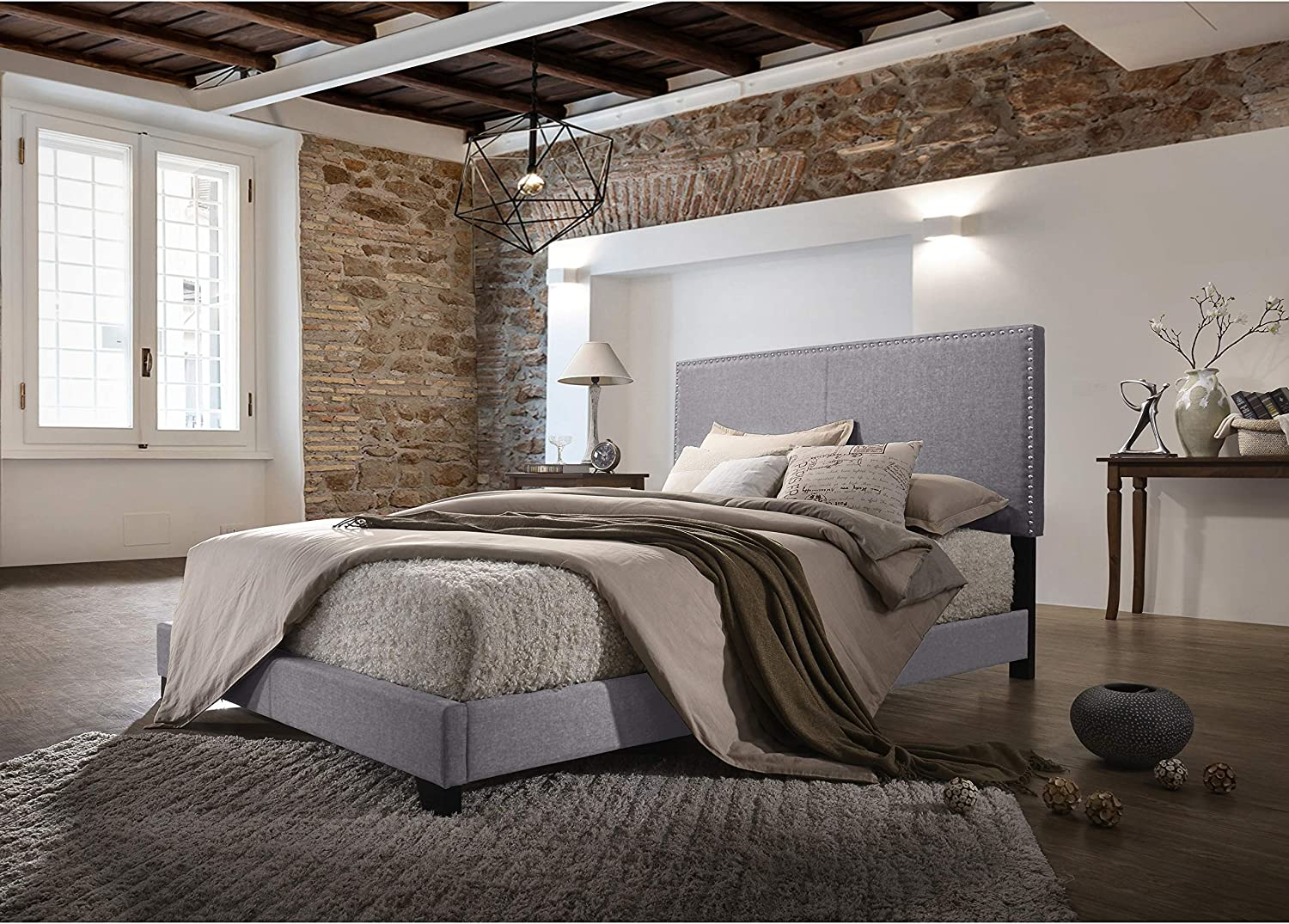 Hommax Furniture Olivia Grey Linen Upholstered Twin Bed