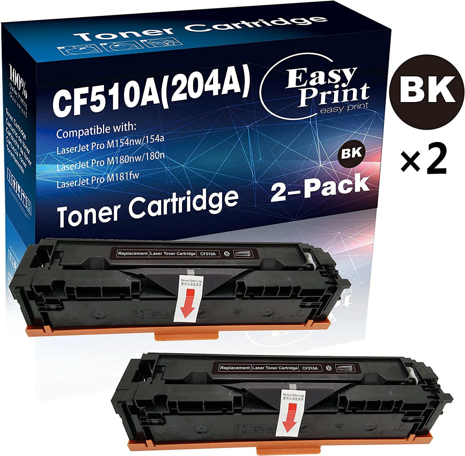 Compatible 2-Pack 204A CF510A Toner Cartridge for HP Laserjet Pro M154nw M154a M180nw M180n M181fw Printer (Black), by EasyPrint
