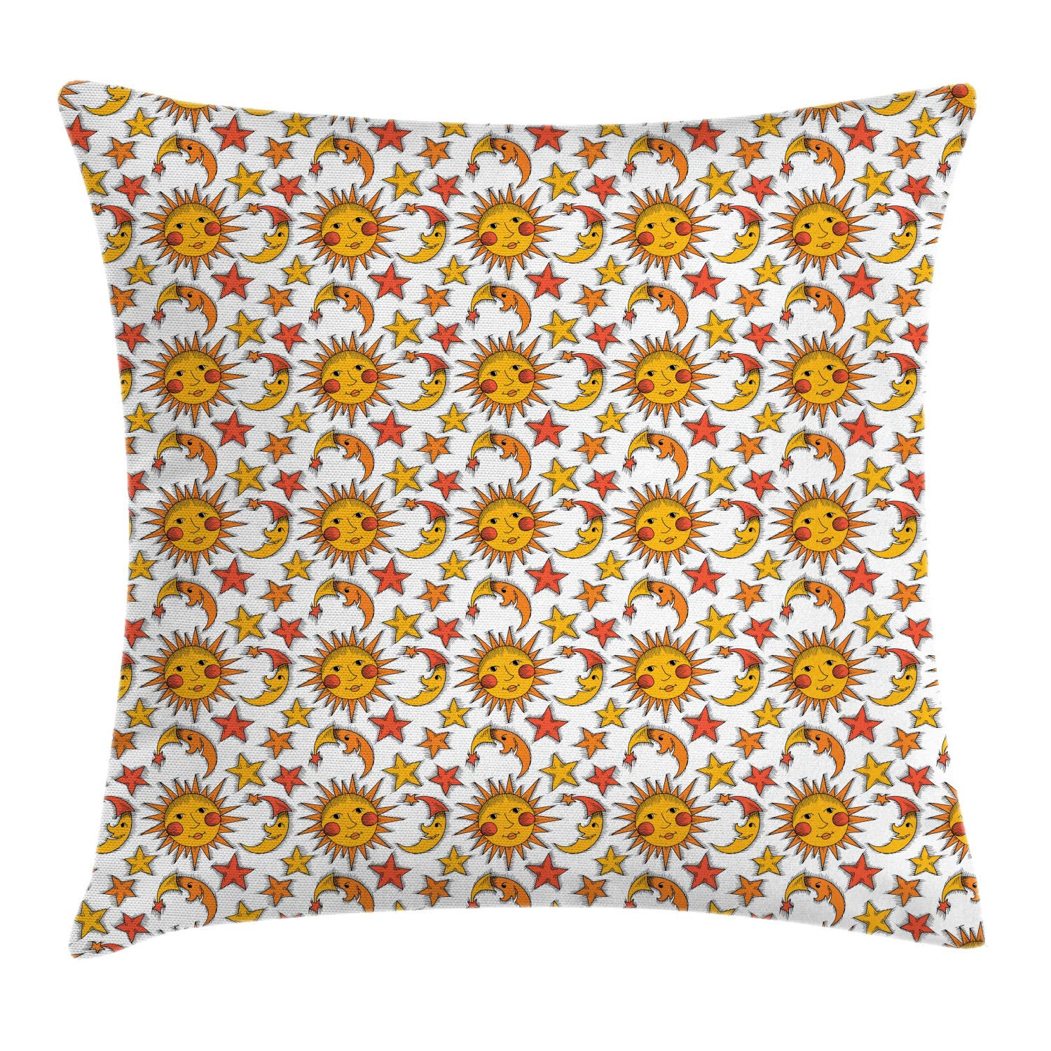 Lunarable Sun Throw Pillow Cushion Cover, Nursery Themed Repetitive Pattern with Sun Moon and Stars, Decorative Square Accent Pillow Case, 28'' X 28'', Earth Yellow Orange Burnt Sienna White