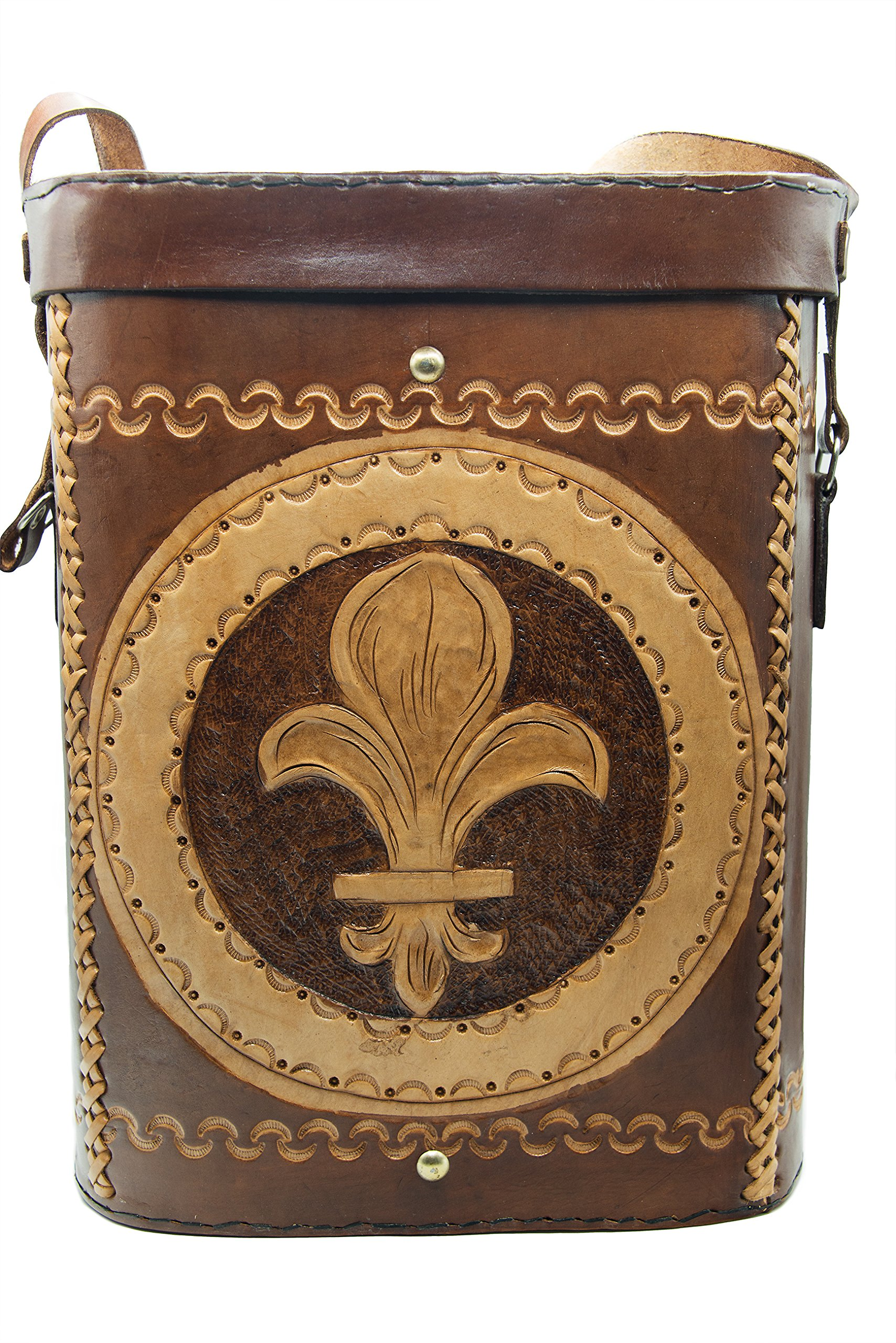 Handmade carry and store cross-body leather bag for yerba mate accessories (Fleur De Lis)