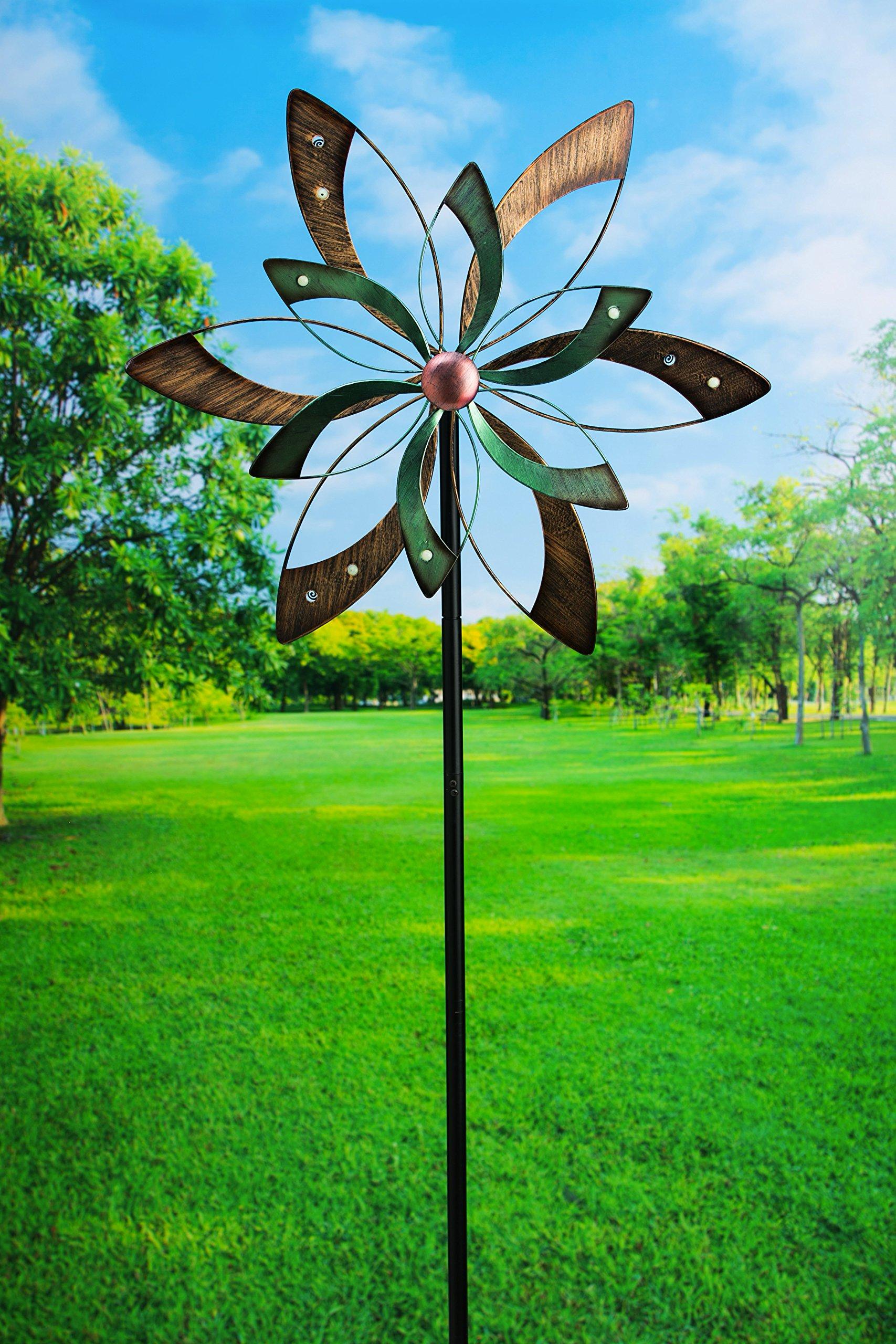 Evergreen Glow Dot Peaceful Petals Kinetic Garden Stake