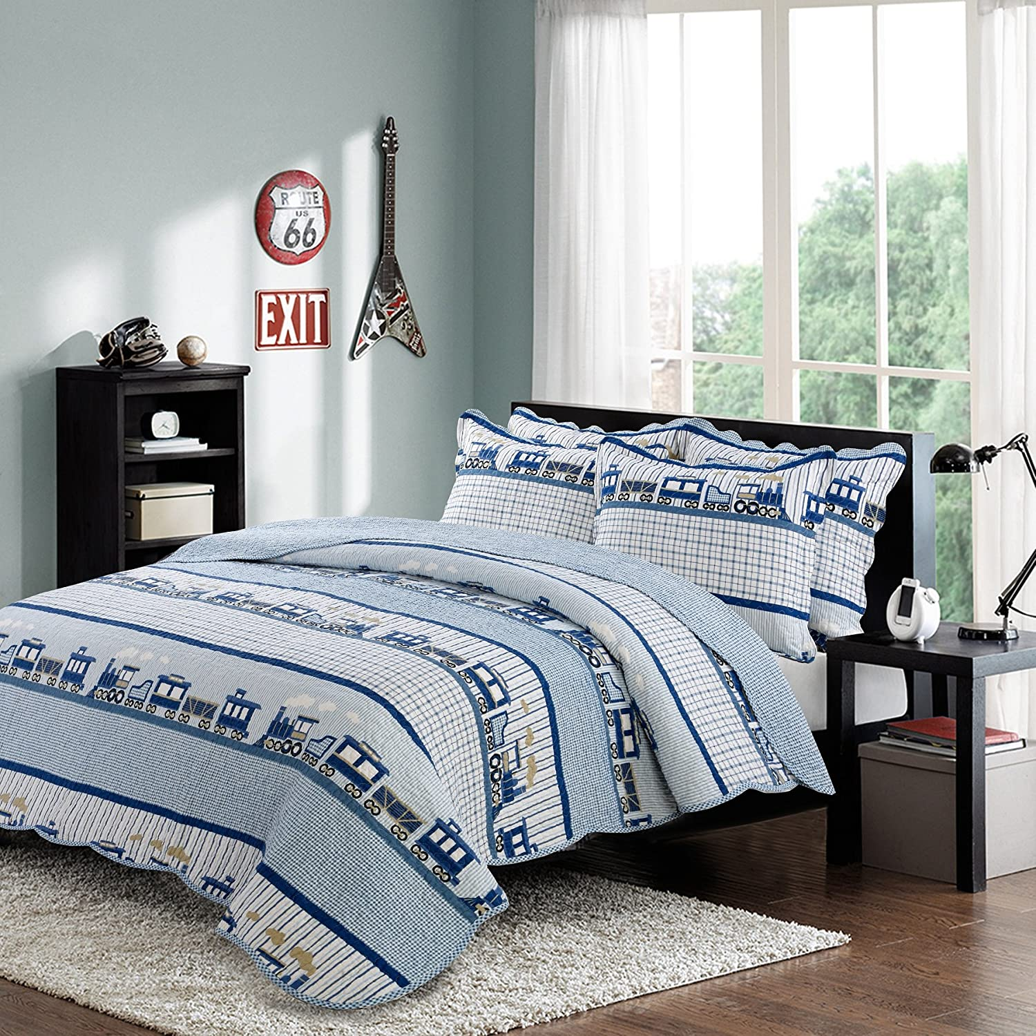 Brandream 3 Piece Kids Comforter Set Train Theme Boys Queen Quilt Bed Set