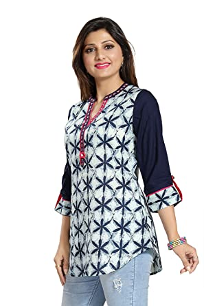 b196271958b Dragaon Casual Craze Blue and White Cotton Printed Short Tunic 3/4 Sleeve  Top for