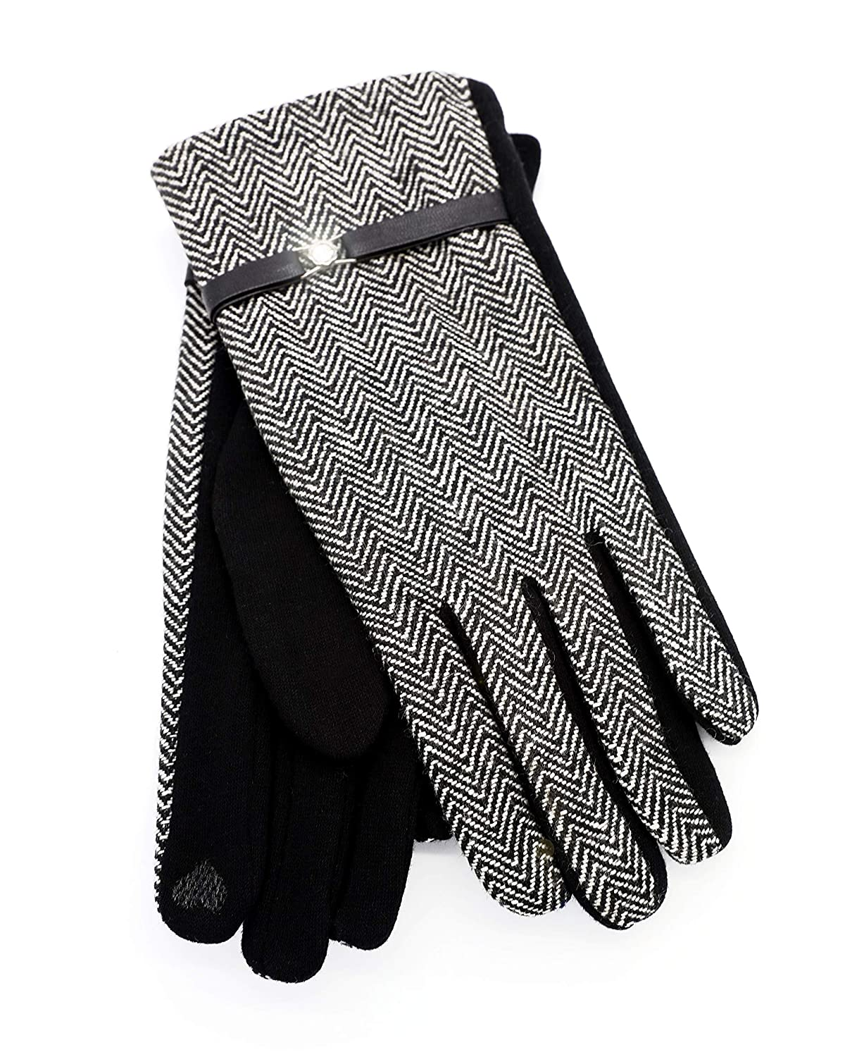 Plaid Silver Texting Gloves With Shiny Crystal With Texting Feature(GV014)