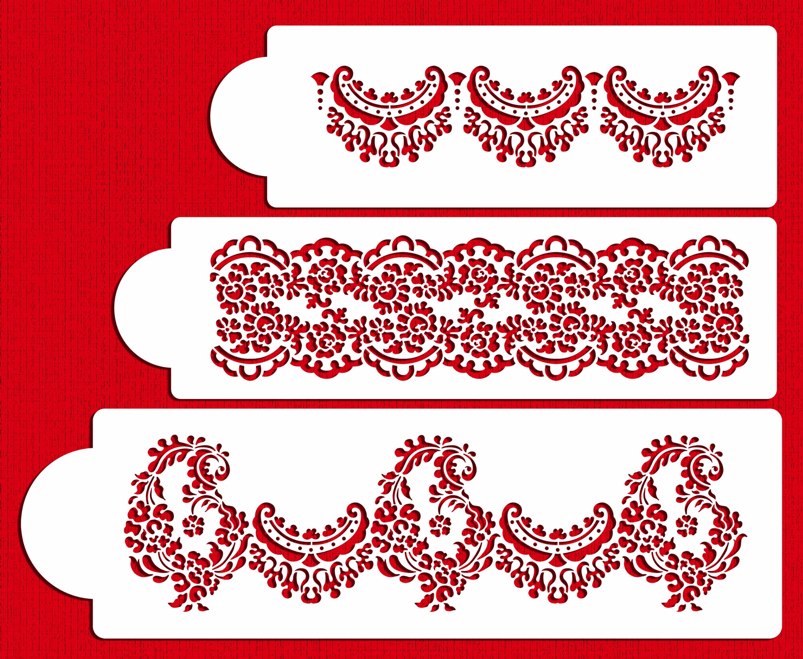 Designer Stencils C370 Alencon Lace Set Cake Stencil, Beige/semi-transparent by Designer Stencils