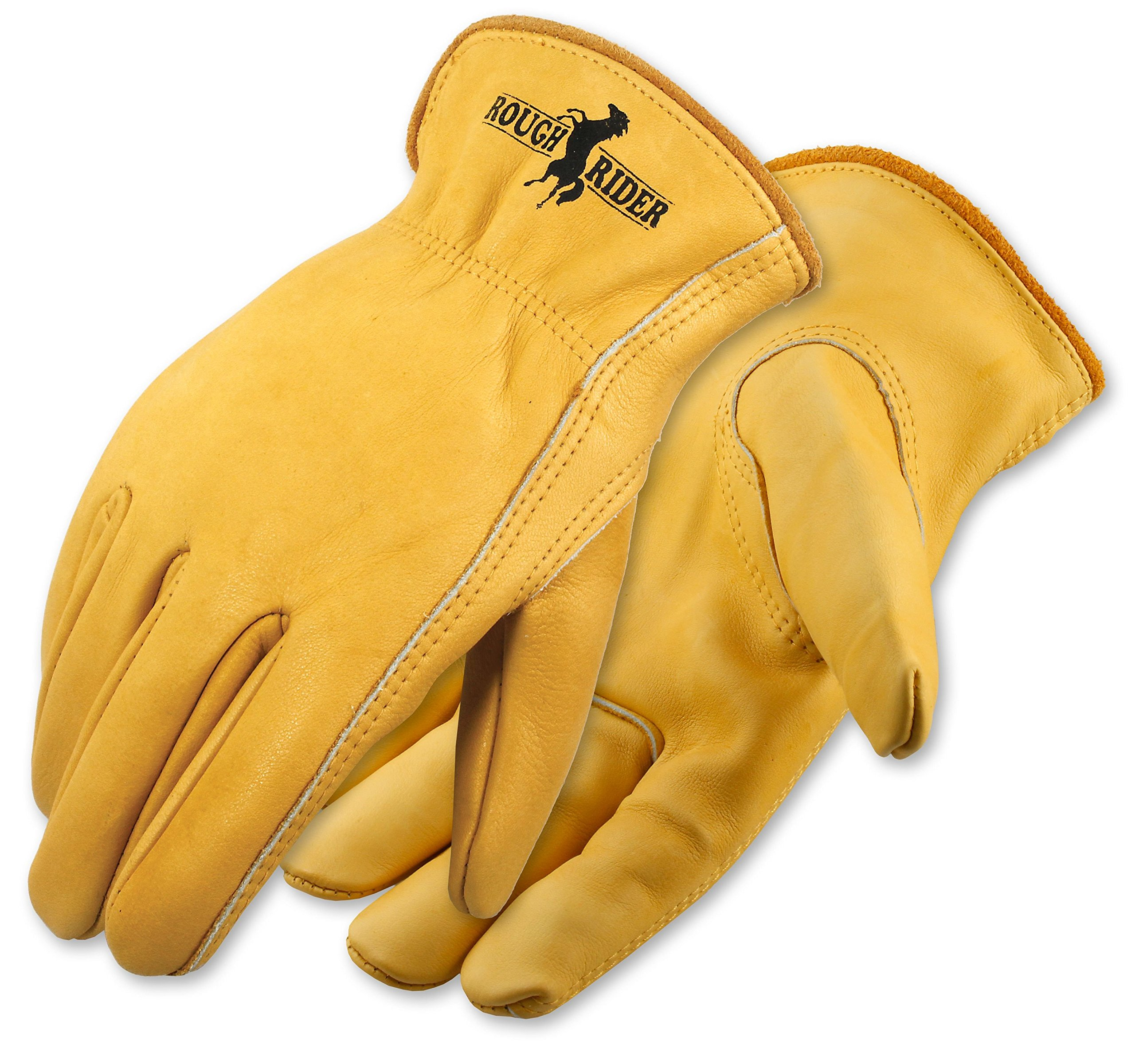 Galeton 2500-XL Elastic Back Rough Rider Premium Leather Gloves (Pack of 12), X-Large, Gold
