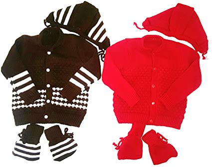 b4f000da725 LITTLE PANDA Baby Woolen Sweaters Set for New Born Boys & Girls (red and  Brown Combo Pack of 2 Sets) (0-6 Months)