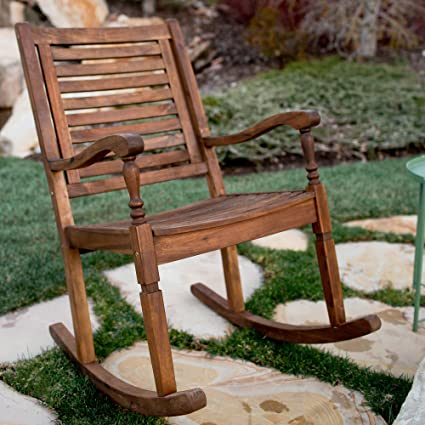 Amazon.com: Nos muebles madera de acacia maciza mecedora ...