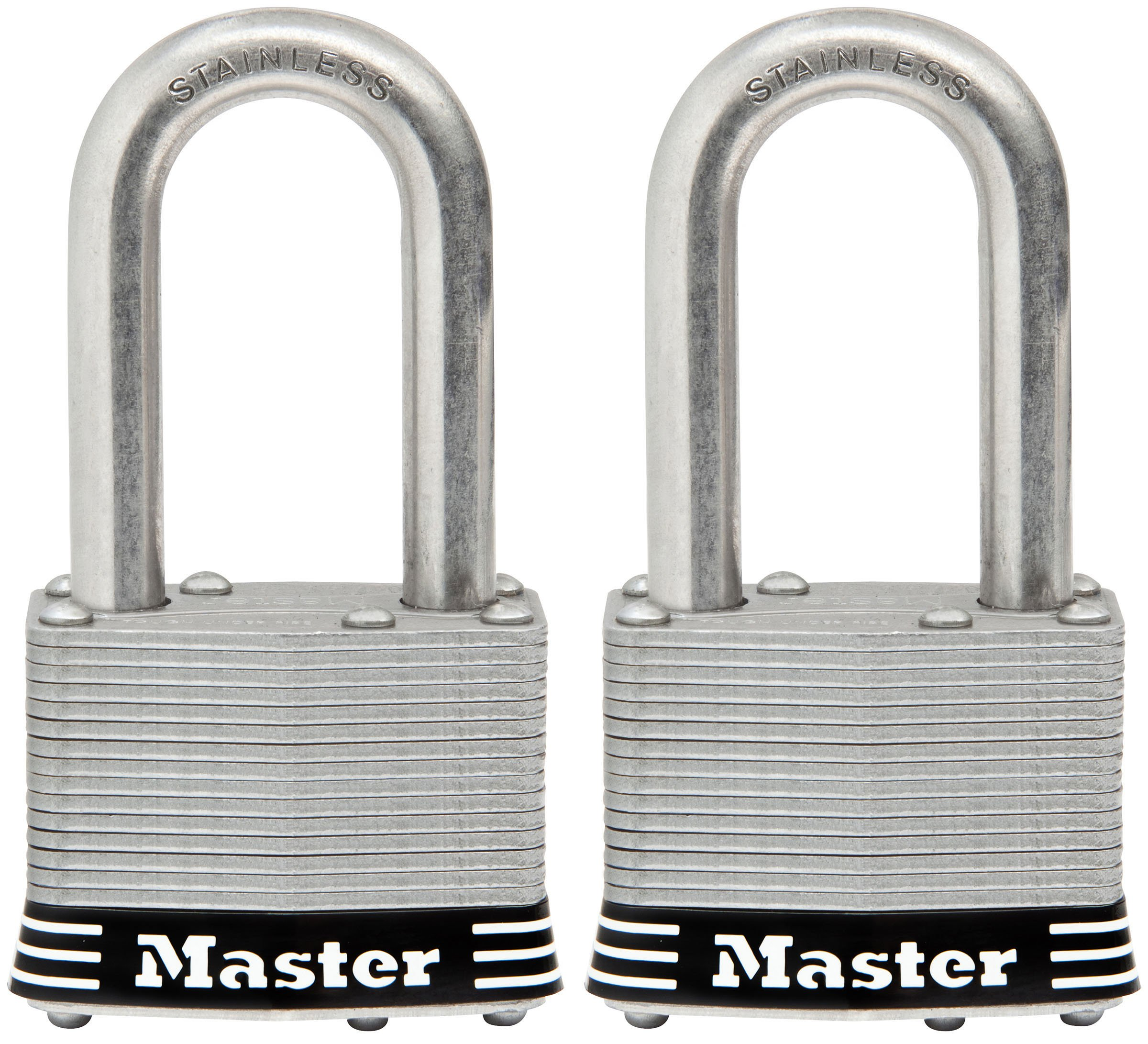 Master Lock Padlock, Laminated Stainless Steel Lock, 1-3/4 in. Wide, 1SSTLF (Pack of 2-Keyed Alike)