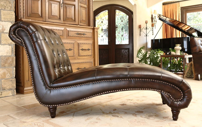 Amazon.com: Abbyson Mirabello Hand Rubbed Leather Chaise: Home U0026 Kitchen