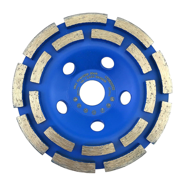 Diamond grinding cup wheel 125 mm x 22.2 mm standard for concrete, masonry, stone twin-row diamond cup wheel 125mm 'blazingly quick' stone twin-row diamond cup wheel 125mm blazingly quick Prodiamant