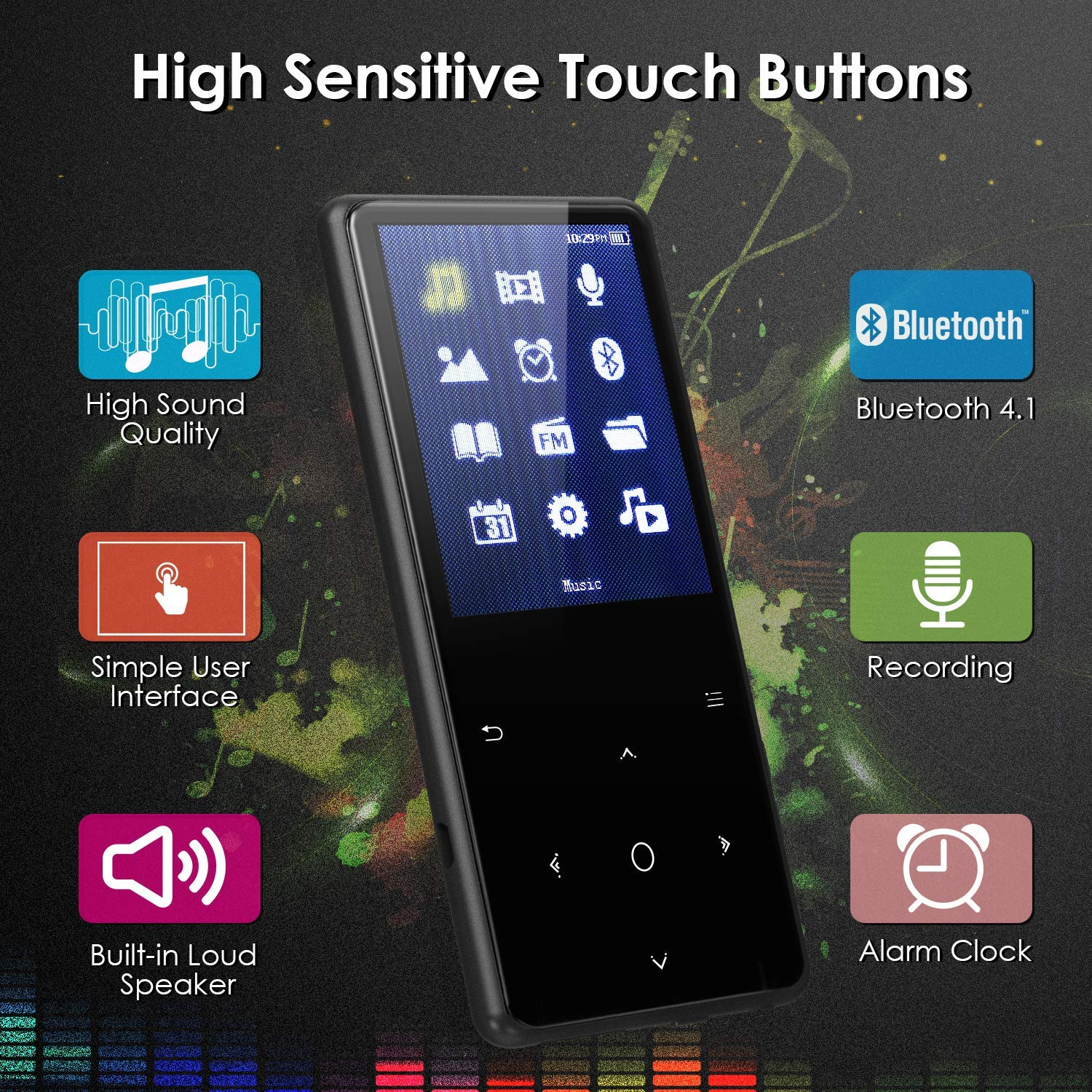 MP3 Player with Bluetooth, Mbuynow 16GB Music Player 2.4 Inch Screen with FM Radio Voice Recorder HIFI Lossless Sound Touch button with Video E-Book Support Up to 128GB TF Card (Black)