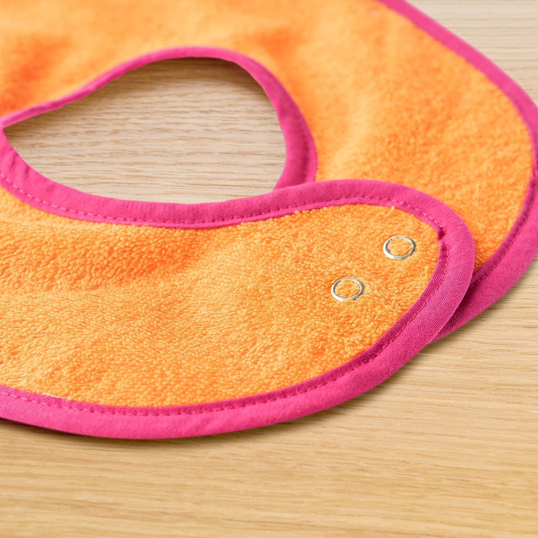 100/% algod/ón - Rosa//Naranja extra largo Certificado OekoTex Set de 2 baberos para beb/é W/örner absorbente baberos de rizo con bot/ón a presi/ón ajustable