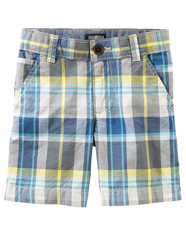 8 Kids OshKosh BGosh Little Boys Plaid Flat-Front Shorts