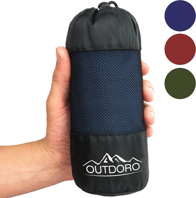En microfibre Avec compartiment pour coussin Outdoro Ultra l/éger -/Seulement 350/g Sac de couchage de refuge Coutil et drap de voyage int/égr/és/-/Fin et petit
