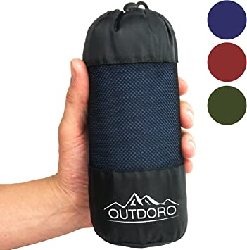 Saco de dormir Outdoro compacto y ultraligero, solo 350 g, fabricado en algodón puro con compartimento