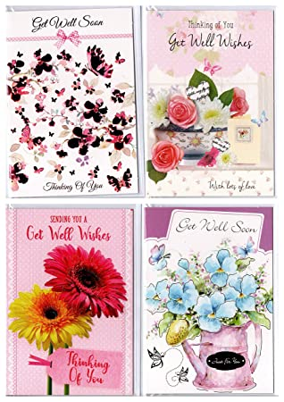 8 Various Floral Get Well Soon Greeting Cards Individually Packed with  envelopes.