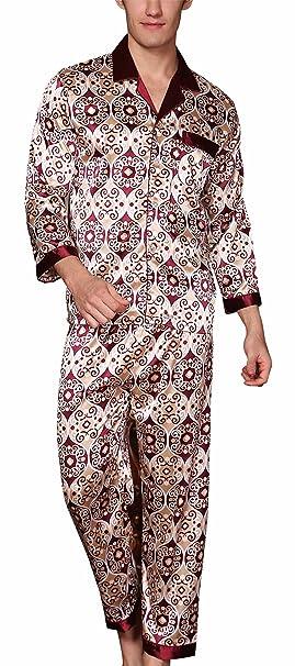 Yanqinger - Conjunto de Pijama de Satén Elegante de Mangas Largas para Hombre de Lujo Estampado