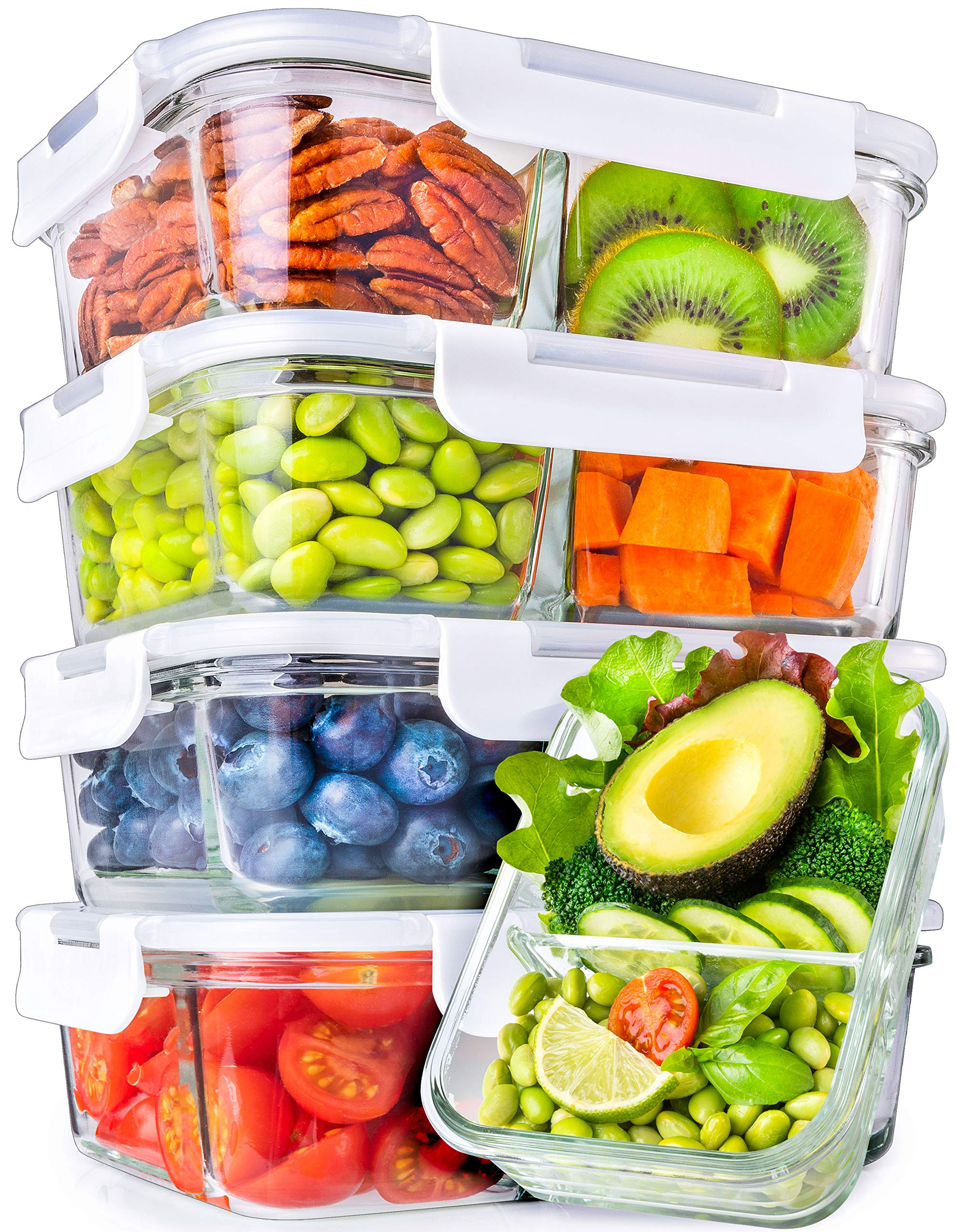 Glass Meal Prep Containers 2 Compartment - Glass Food Storage Containers with Lids - Glass Containers with Lids Glass Storage Containers with Lids Glass Food Containers Glass Lunch Containers Divided