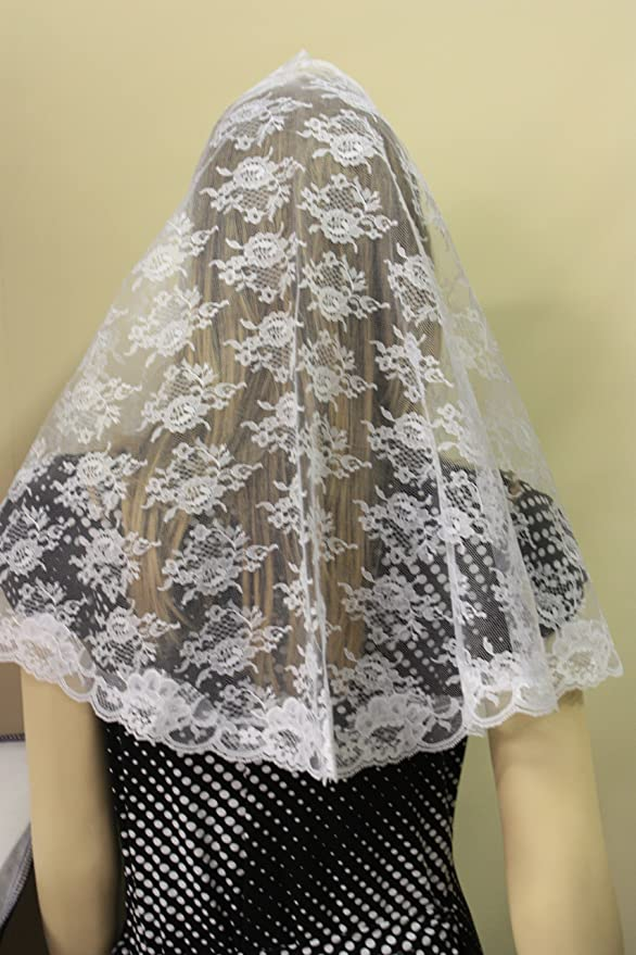 White veils and mantilla Catholic church chapel lace headcovering  Mass WNL