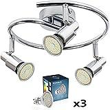 ROMKE 3 Way LED Ceiling Light, Silver Chrome Modern GU10 Ceiling Spotlight Adjustable Ceiling Kitchen Lights, 3 x 4W 360 Lumen Warm White for Hallways Bedroom Kitchen Offfice