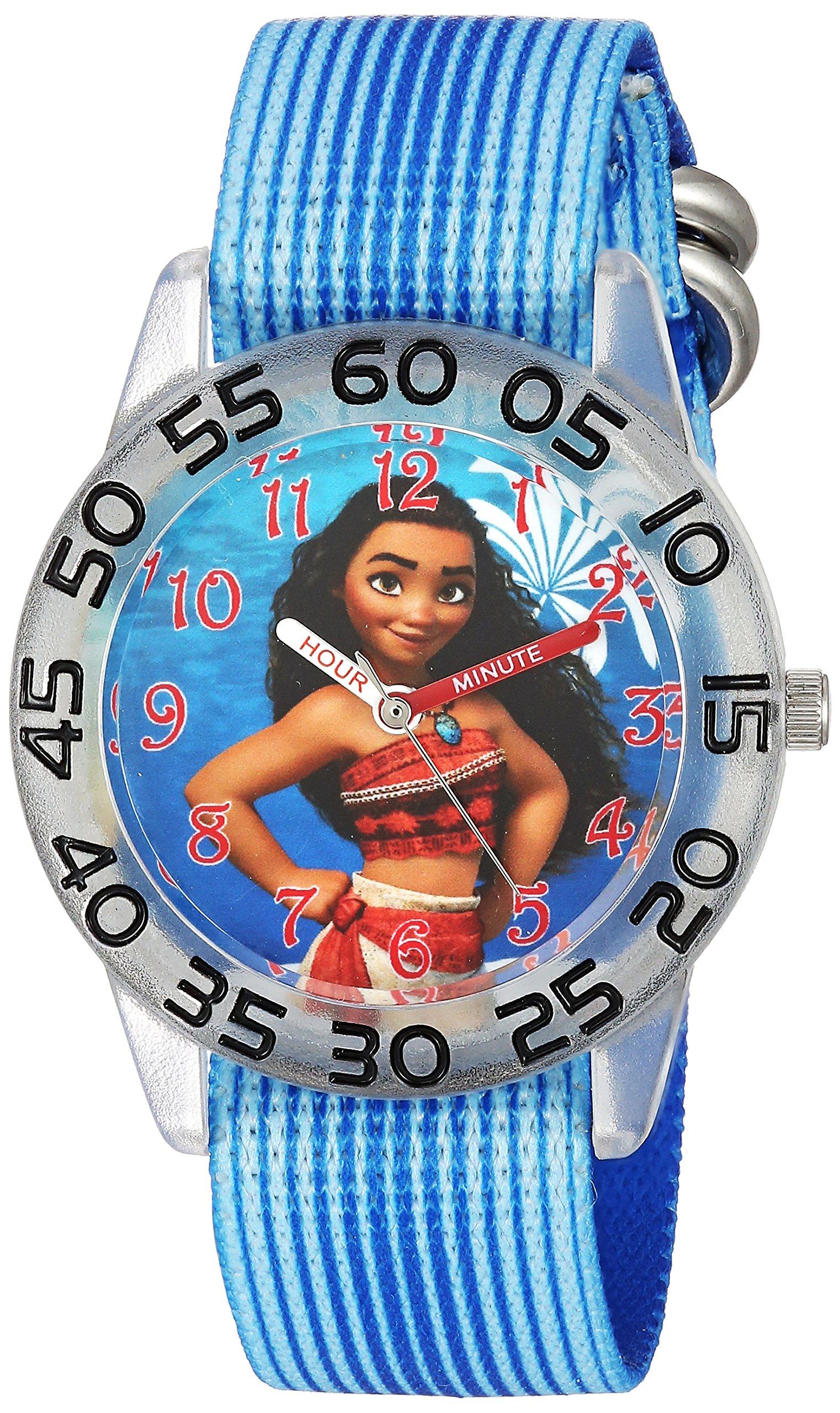 DISNEY Girl's 'Moana' Quartz Plastic and Nylon Casual Watch, Color:Blue (Model: WDS000043)