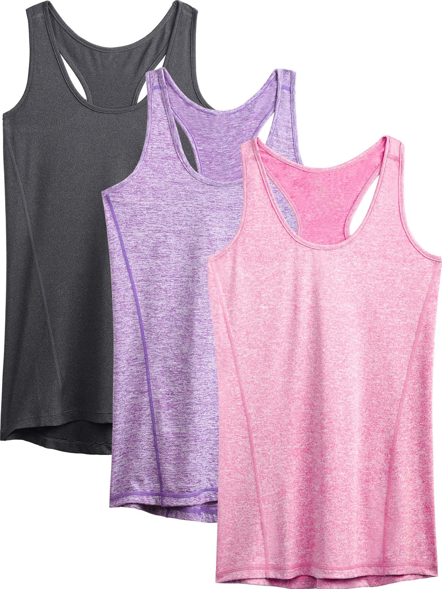 Neleus Workout Running Racerback Long Tank Top for Women,8006,3 Pack,Grey,Purple,Rose red,XL,EU 2XL by Neleus
