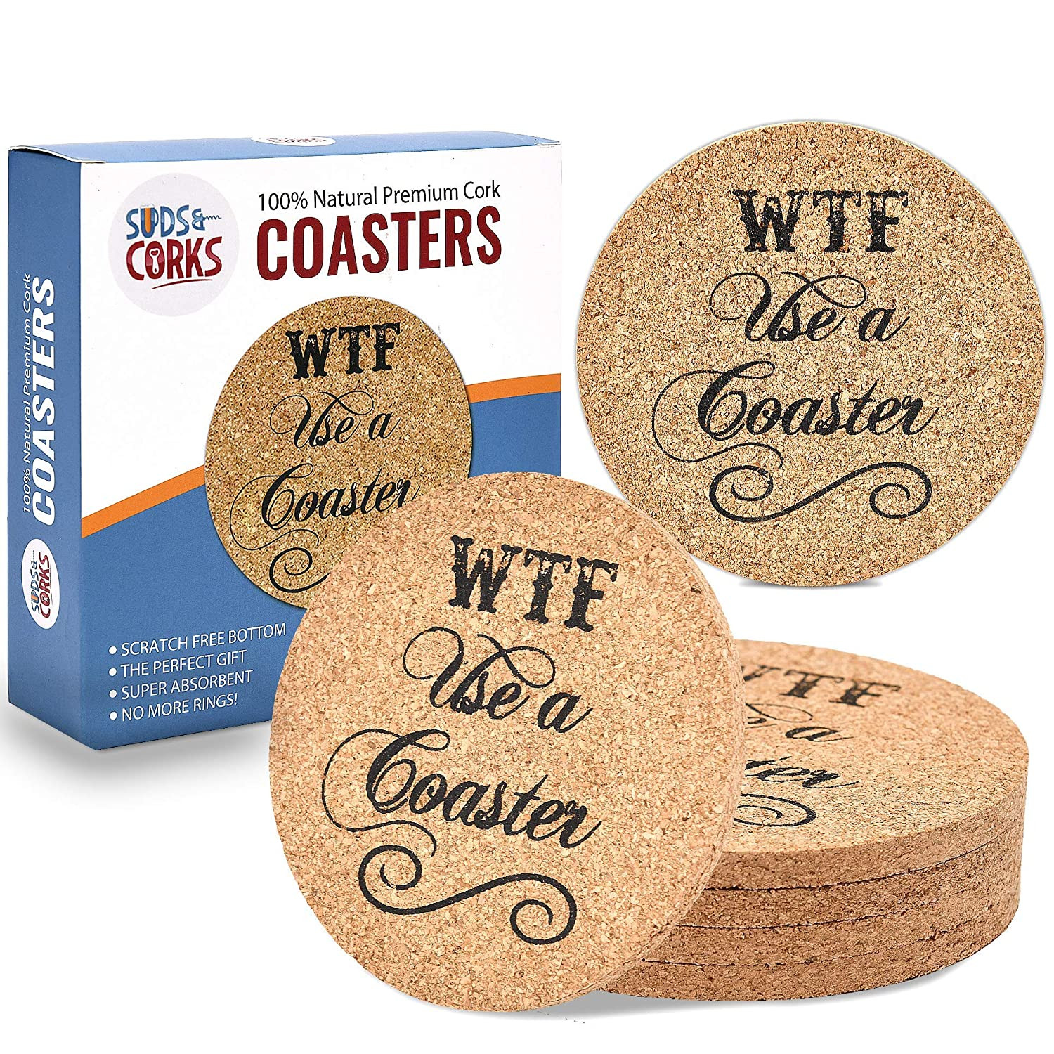 Funny Bar Coasters for Glasses - Premium 5mm Cork Coaster, Best Housewarming or Alcohol Gifts, Funny Man Cave Decor Stuff, Dont F Up the Table (6 Pack)