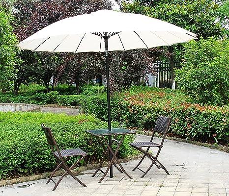 Lifine - Juego de mesa y sillas plegables de mimbre, tres piezas, muebles al aire libre