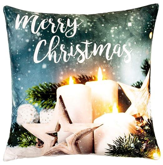 Brandsseller - Cojín de Navidad con iluminación LED, 40 x 40 ...