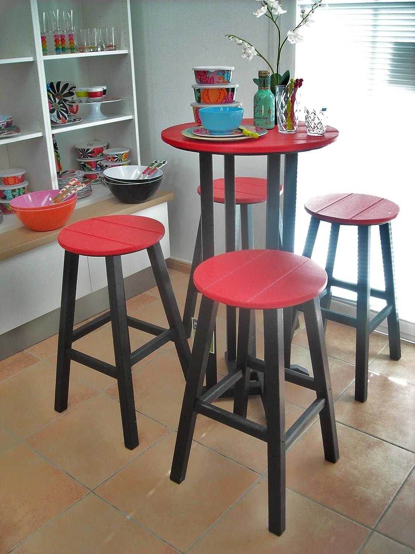 CASA BRUNO Bar-Gruppe Contempo (4 Hocker + Tisch Ø 61 cm) aus recyceltem Polywood® HDPE Kunststoff, schwarz / rot - kompromisslos wetterfest