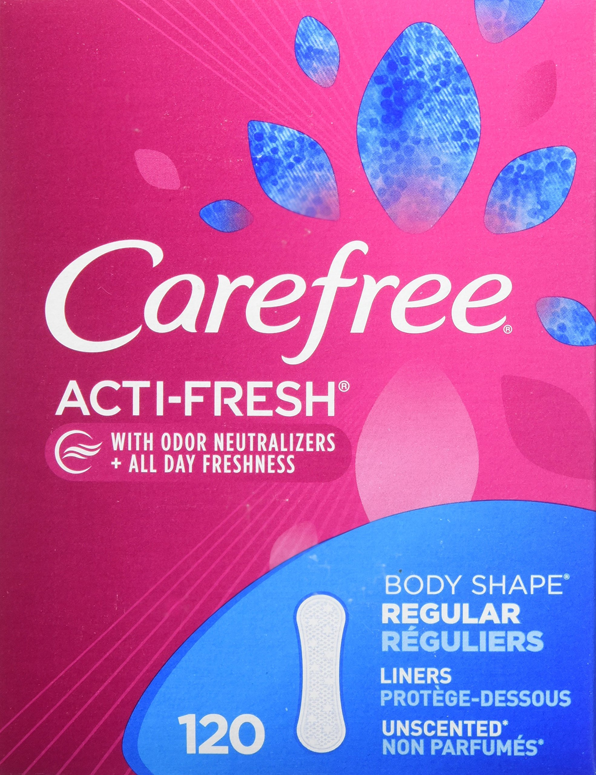 Carefree Acti-Fresh Panty Liners, Regular, Unscented - 120 Count product image