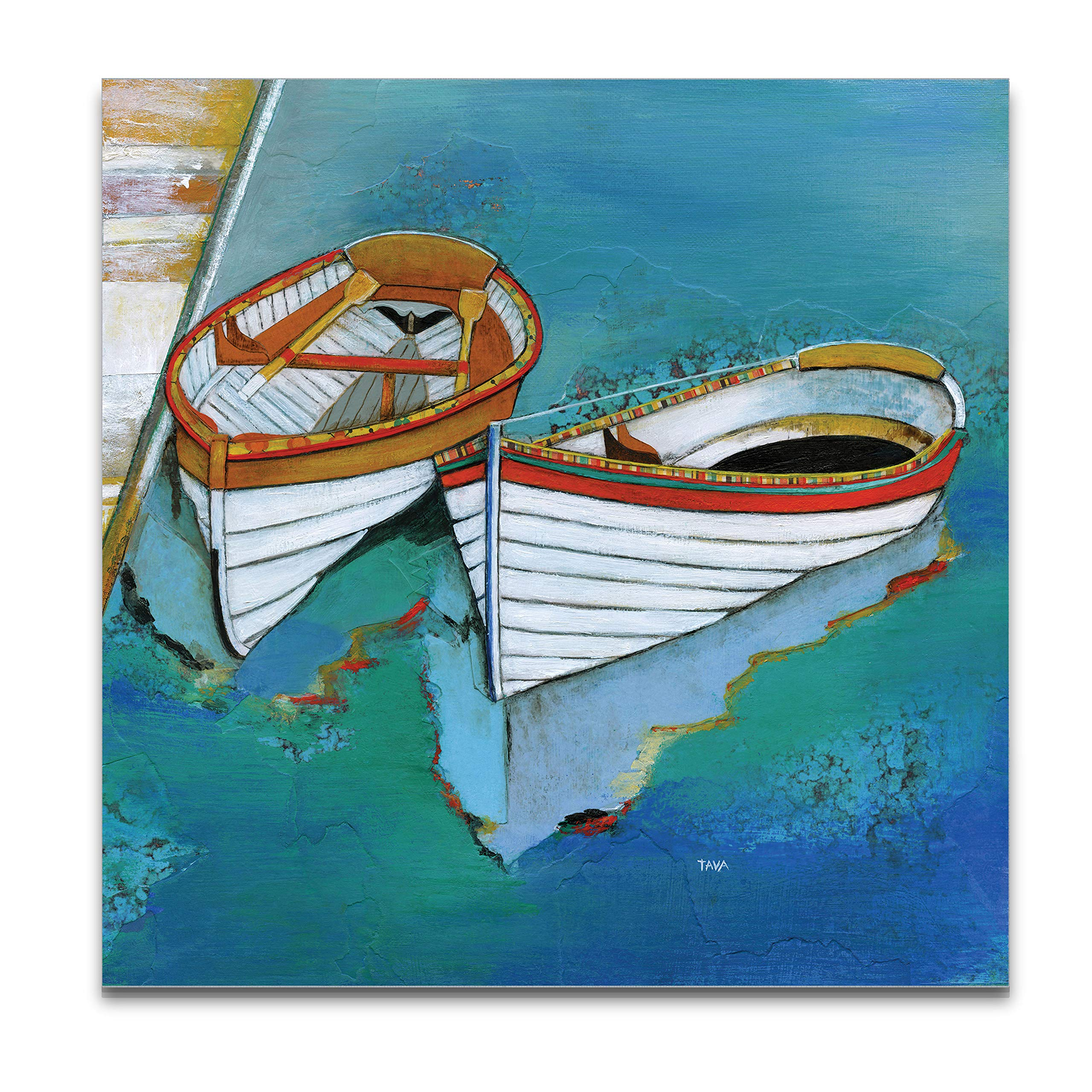WEXFORD HOME Rowboat Reflection Gallery Wrapped Canvas Wall Art, 32x32, by WEXFORD HOME