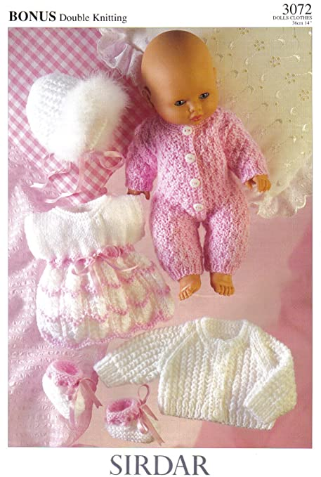 Sirdar Dolls Clothes Knitting Pattern All In One Dress Bootees