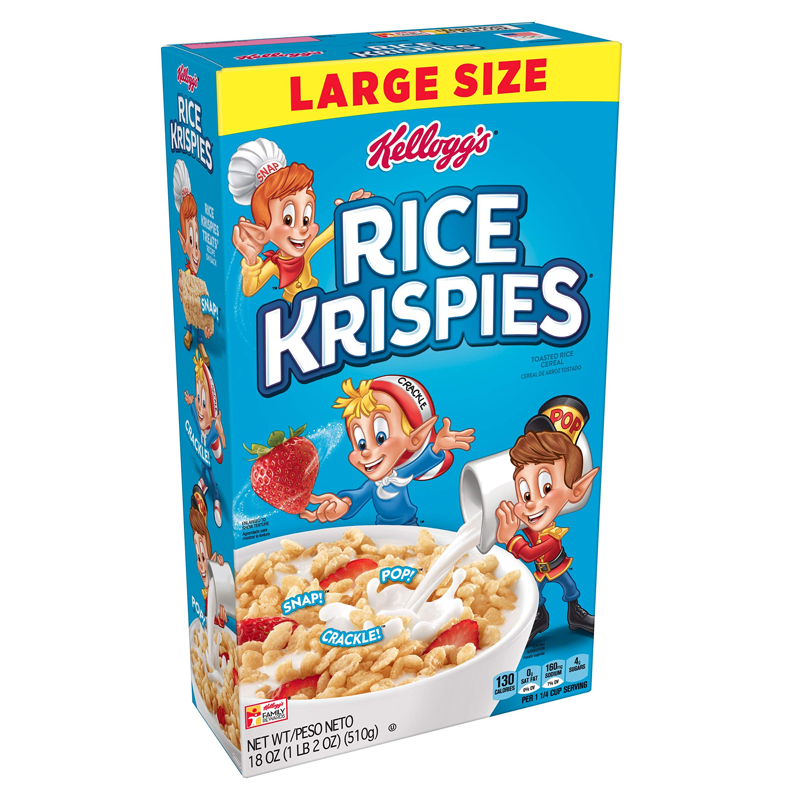 Rice Krispies Kellogg's Fat-Free Breakfast Cereal, Toasted Rice Cereal, 18 Ounce