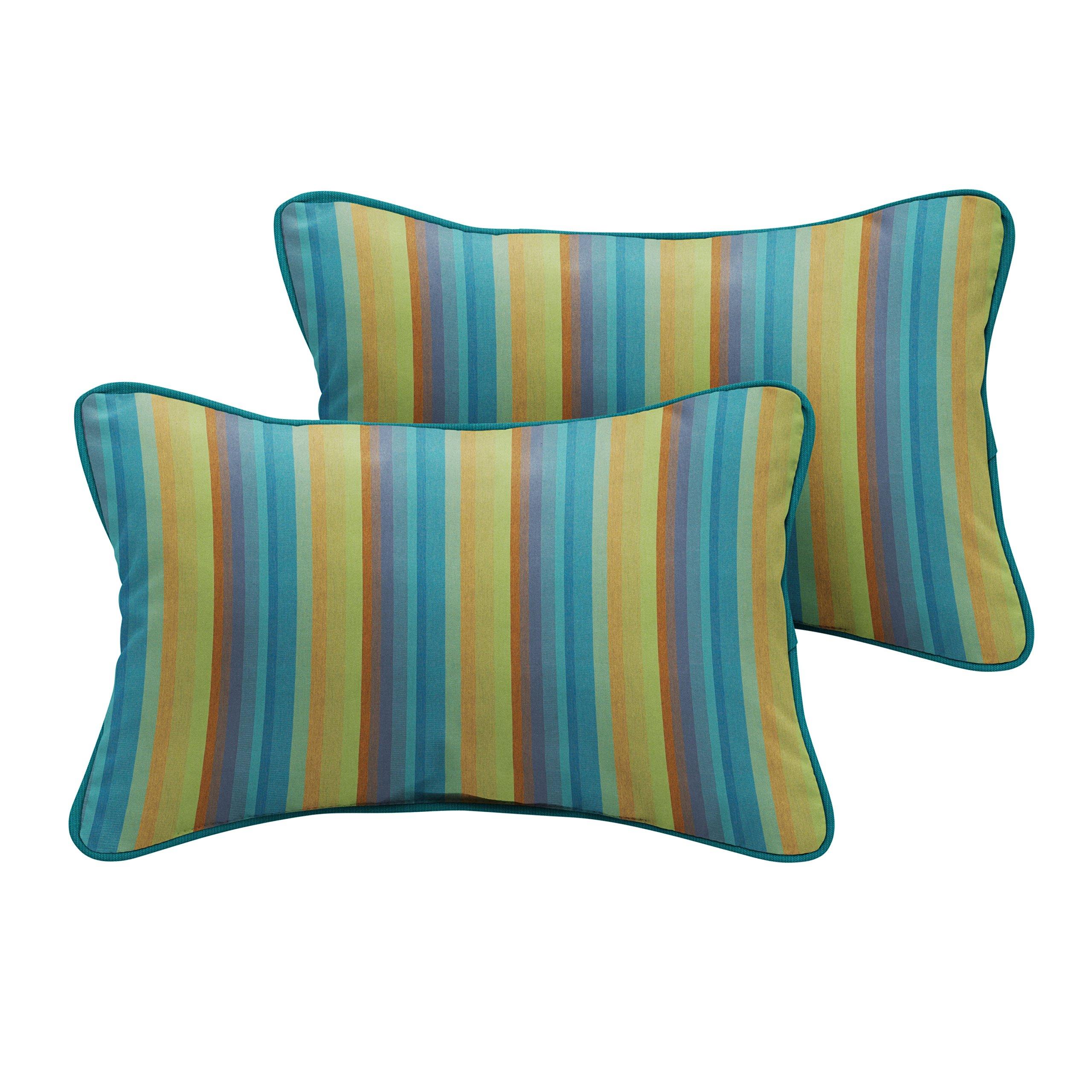 Mozaic Company Sunbrella Indoor/ Outdoor 18'' x 12'' Corded Lumbar Pillows, Astoria Lagoon Stripe and Spectrum Peacock, Set of 2