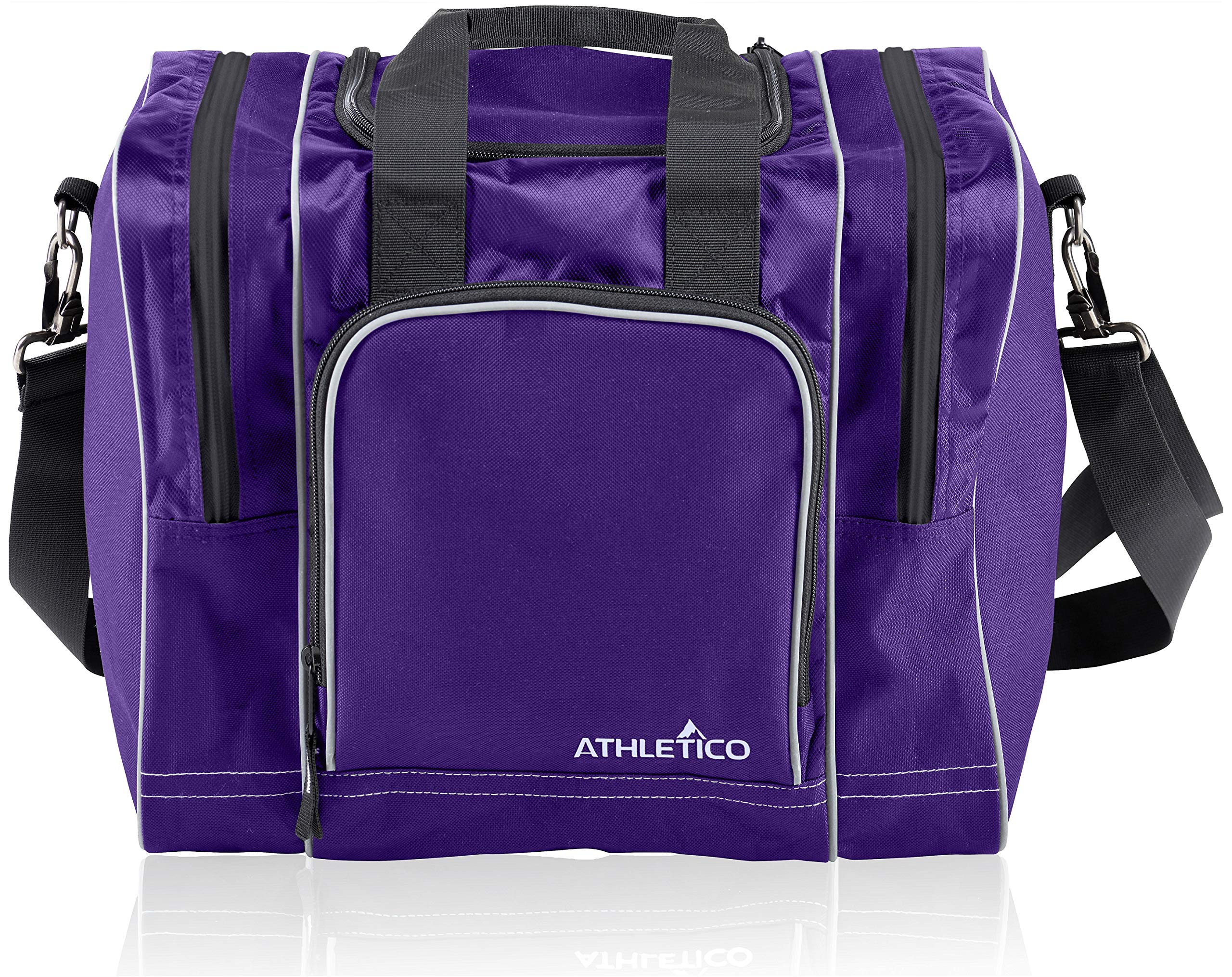 Athletico Bowling Bag for Single Ball - Single Ball Tote Bag with Padded Ball Holder - Fits a Single Pair of Bowling Shoes Up to Mens Size 14 (Purple) by Athletico