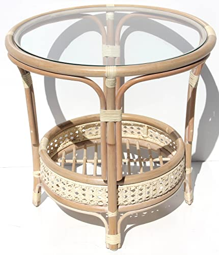 Pelangi Handmade Rattan Round Wicker Coffee Table