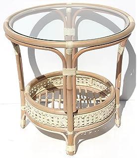 Pelangi Handmade Rattan Round Wicker Coffee Table With Glass White Wash