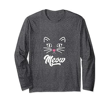 Amazon.com: Cat Camisa Meow de manga larga casual mujer de ...