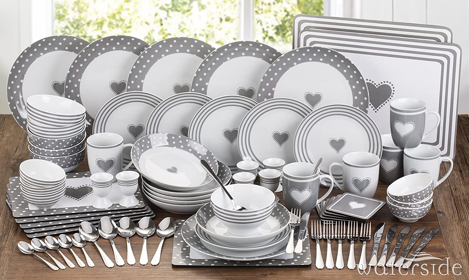 80 Piece Grey Heart Combo Set Waterside Fine China
