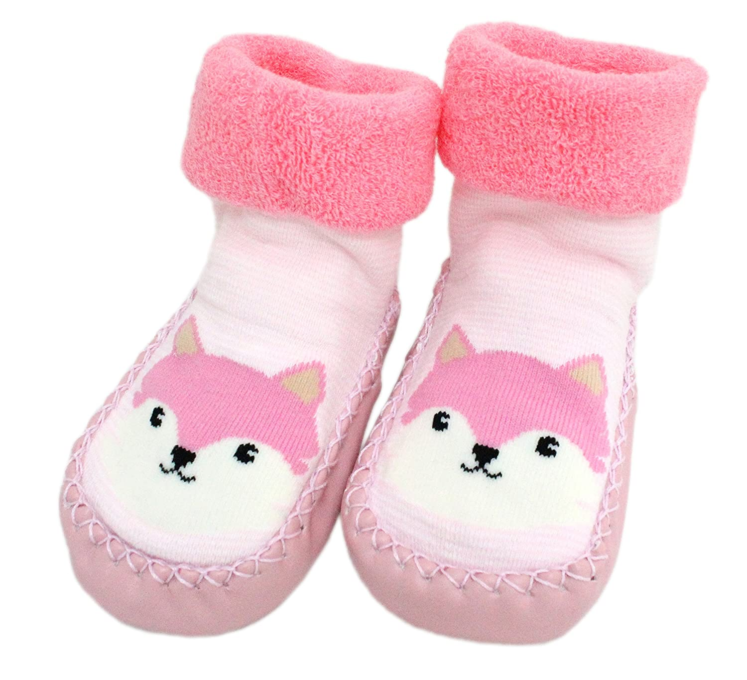 Baby Girls Winter Indoor Slipper Socks Anti-slip Pink Striped Fox 3-24 Months