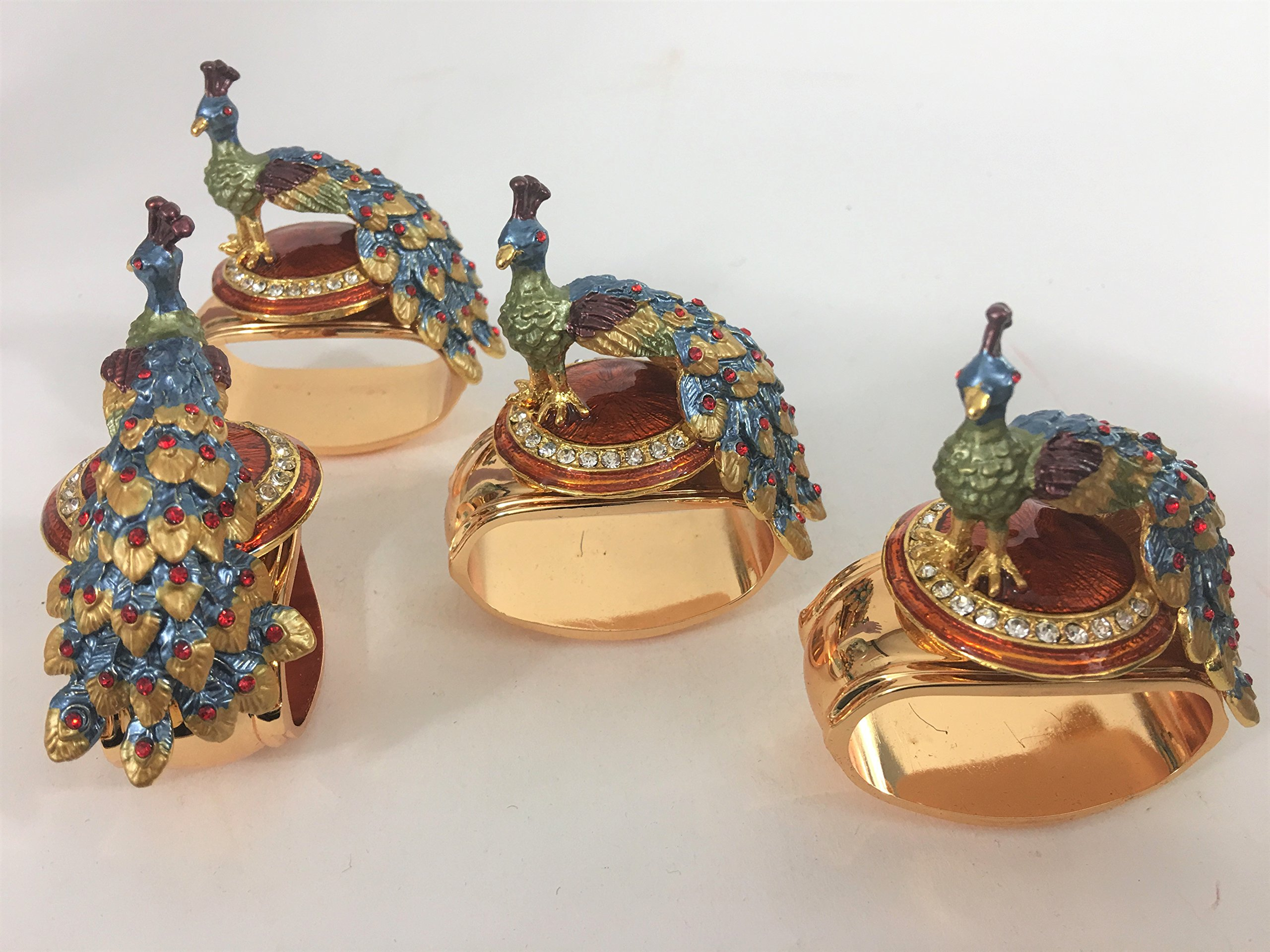 Hans Turnwald Set 4 Peacock Crystal Enamel Signed Napkin Rings Gift Box