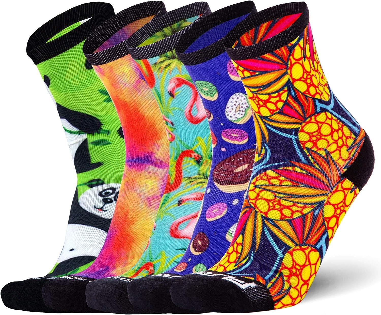 Running Socks Women and Men - Anti-Blister Crew Athletic Sock, Colorful Fun