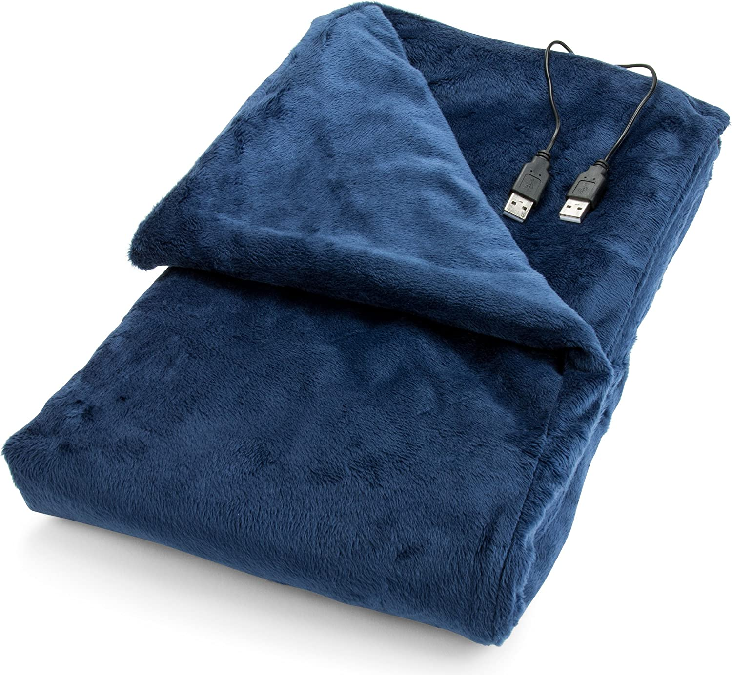Convenient Gadgets & Gifts USB Heated Shawl and Lap Blanket - Blue Color - USB Heated Throw Perfect Alternative to an Office Desk Heater