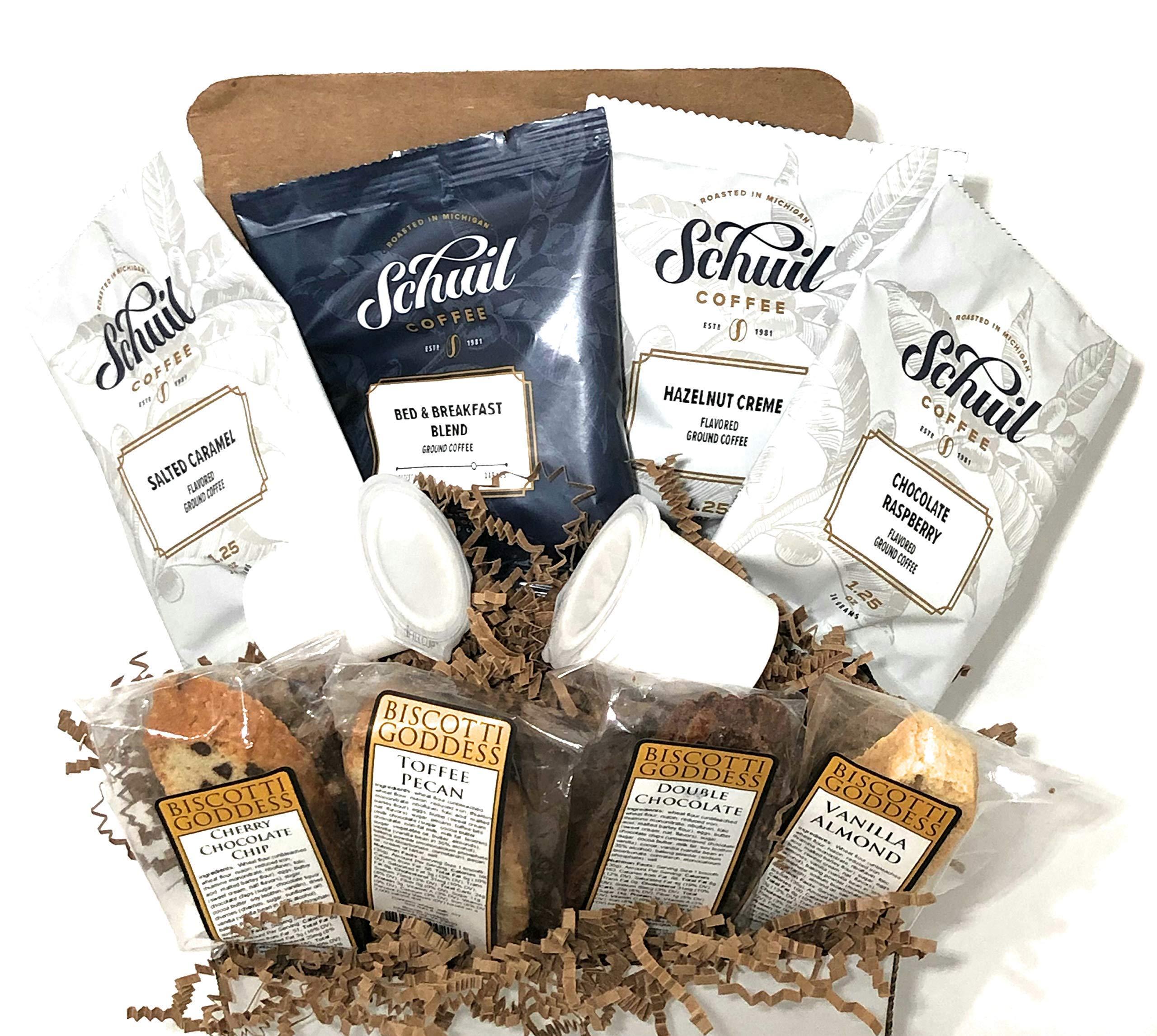 Coffee Gift Box Set With Kosher Non-GMO Biscotti & Ifill Cup