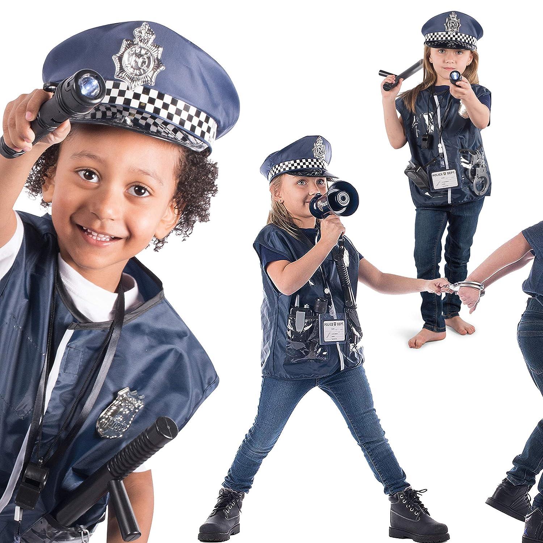 Born Toys Costume De Police De 11 Pièces Pour Enfants Avec Kit De Jeu De Rôle Pour Swat Halloween Et Habillage Fbi Détective Enfants Jeux Et Jouets
