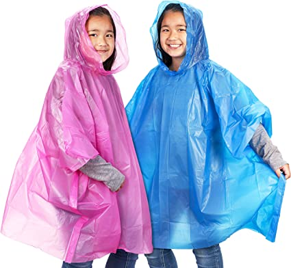 42 x 60 Inches Kids Rain Ponchos Disposable Emergency Poncho Pack of 20 Raincoats with Hood Clear